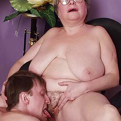Plump grandmother found a young lover who licks her pussy