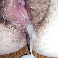 Sperm on hairy plump vagina